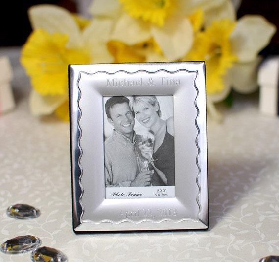 Items similar to personalized mini silver photo frame for Personalized wedding place cards