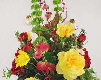 Red Yellow White Summer Flowers and Greeneries Silk Floral Arrangement Ornament Decor Brown Ceramic Planter