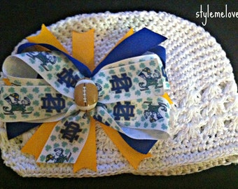 Notre Dame Baby Girl Boutique Bow Crocheted Hat