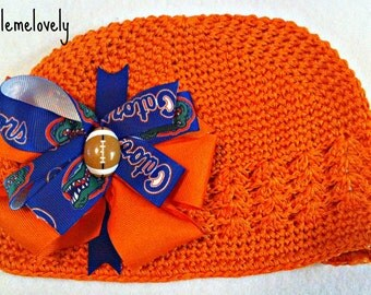 Florida Gators Baby Girl Boutique Bow Crocheted Hat