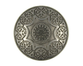 Metal Buttons - Medieval Mandala Flower Metal Shank Gunmetal Buttons - 28mm - 1 1/8 inch -  6 pcs