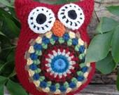 Primitive Crochet Owl Stuffed Animal, Owl Amigurumi, Owl Pillow, Boy Nursery Decor, Americana Decor, OFG FAAP