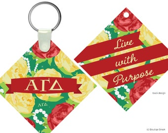 AGD Alpha Gamma Delta Floral Live With Purpose Keychain Sorority