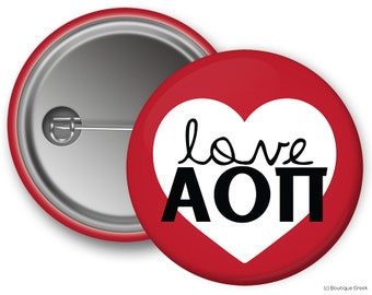 AOII Alpha Omicron Pi Love Heart Sorority Greek Button