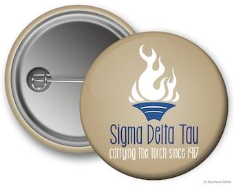 SDT Sigma Delta Tau Torch Sorority Greek Button