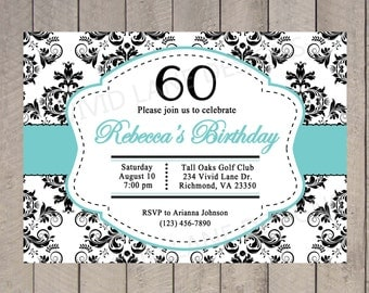 Adult Birthday Invitation, Grey and Blue Damask, 18th, 21st, 25th, 30th, 40th, 50th, 60th, 65th, 70th, 75th, 80th, Black and White 6011