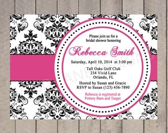 Bridal Shower Invitation - Black and White Damask and Pink, Wedding Shower, Invite, Custom, Printable Invitation - 077