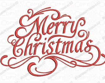 Merry Christmas Fancy Script Embroidery Design in 3x3 4x4 and 5x7 Sizes