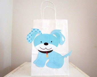 Puppy Party Favor, Goody, Gift Bags - Blue Puppy Dog