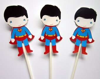 Superman Cupcake Toppers - Superhero Cupcake Toppers