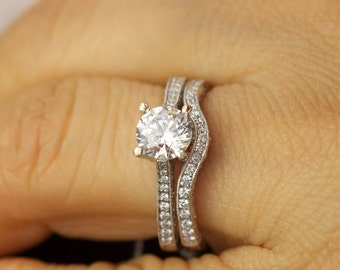 Veronica Set - Moissanite and Diamond Engagement Ring and Diamond Wedding Band in White Gold, Antique Style, Fit Flush Design, Free Shipping