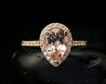 Genesis - Morganite and Diamond Engagement Ring in Rose Gold, Pear Cut in Diamond Halo, Prong Setting, Fit Flush Design, Free Shipping