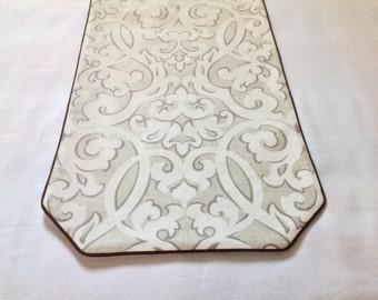Elegant White Scroll Table Runner