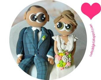 Wedding Cake Topper - cute cake topper-CUSTOM cake topper, FUNNY cake topper, Wedding figurines, wedding topper, polymer clay cake topper,