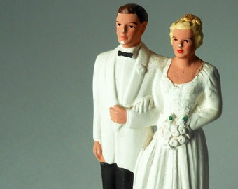 Small Pfeil & Holding, Inc. Caucasian Blonde Bride and Groom in White Tuxedo Chalkware Vintage Cake Topper
