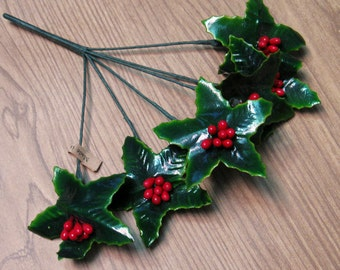 SALE 25% OFF CIJ Gorgeous Vintage Paper Holly Sprigs on Wire with Red Berries One Sprig