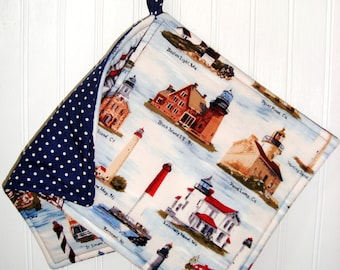Lighthouse Potholders, Fabric Pot Holders, Set of 2 Lighthouse Potholders, Lighthouse Kitchen Decor, Lighthouses Mother's Day Gift