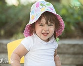 Bucket hat with cute birds and pink polka dot, summer hat for children, fabric hat