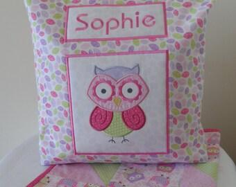 Baby pink owl personalised tote bag and pram blanket set