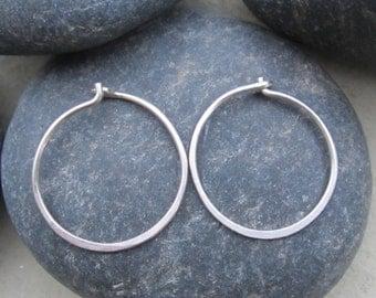 Hoop Earrings| Recycled Argentium Sterling Silver|  Minimalist Earrings| Classic Hoops| Boho