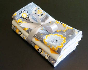 Chenille Burp Cloths in Yellow and Grey