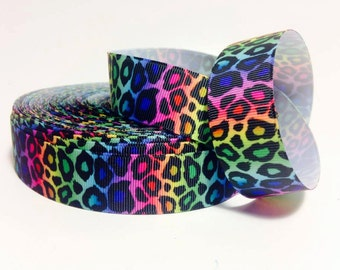 "3 Yards of 1""  Rainbow Leopard Printed Grosgrain Ribbon"
