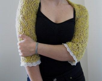 3/4 sleeve,schrug,bolero, soft,S-M,mustard color