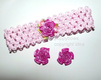 Carnation necklace dog collar and matching dog bows- handcrafted puppy bows