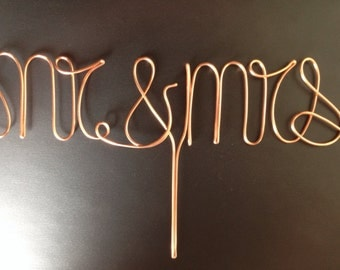 "Wire ""Mr. and Mrs."" Cake Topper"