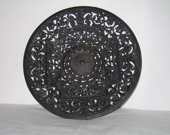 Antique Buderus-style Cast Iron Ornate Filigree Hanging Wall Plate Germany 19th Century