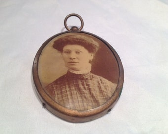 Antique Victorian Photo Pendant Woman with Big Hair