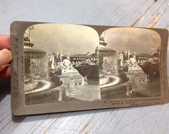 Antique Stereoview Card of The Climax of the Ages Statue at the St. Louis World's Fair