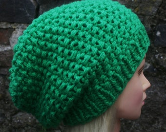 Green hat- Knit hat- Womens hat- Slouchy Beanie hat- green chunky knit winter hat in bright green color- Womens Accessories
