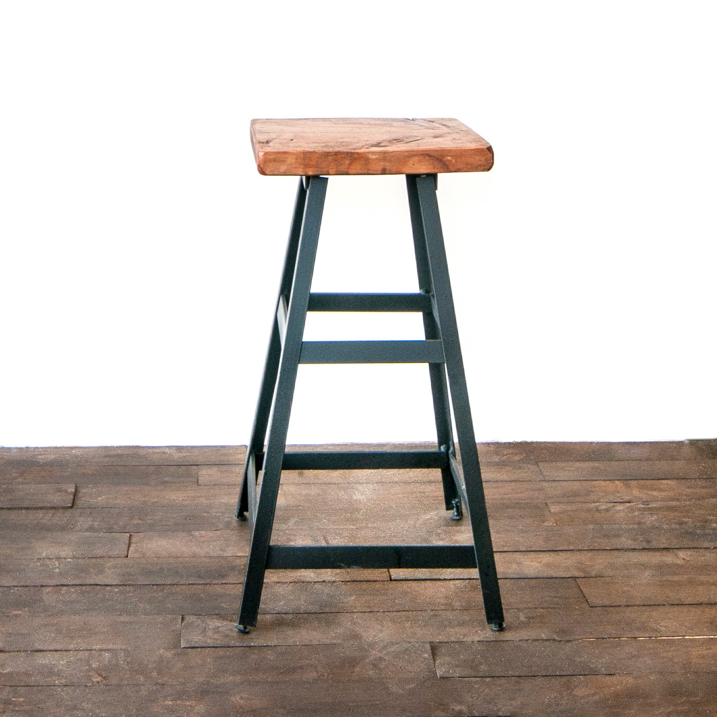 Modern Metal Barstool, Industrial Stool, Bar Stool, Shop Stool, Metal Stool, - Reclaimed Wood Stool Etsy