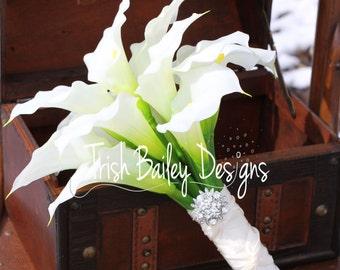 Cream Calla Lilly Real Touch Rhinestone Brooch Silk Wedding Bouquet