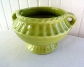Vintage Urn-Shaped Ceramic or Clay Planter Compote - Bright Chartreuse Green - Vibrant Lime Jade Jardiniere on a Pedestal