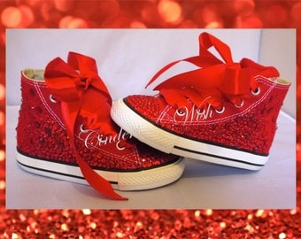 Youth red ruby converse/ wizard of oz shoes / customised converse / bling converse / red customised converse