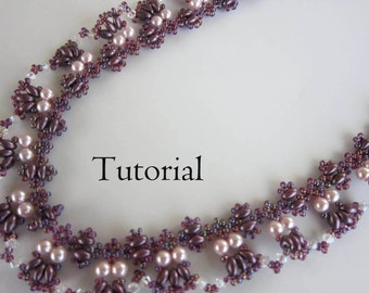 PDF beading tutorial pearl seed bead necklace_ lilac necklace_ beadweaving_twin bead