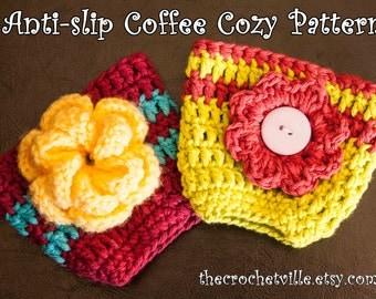Anti Slip Coffee Cozy Pattern 2 for 1.