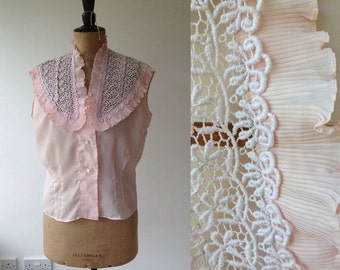 1950s Pale Pink Blouse with Lace Collar Detail / 50s Semi Sheer Blouse / Vintage Lace Top / Size UK 14