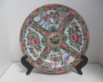 Vintage Chinese Canton Export Hand Painted Gilt Porcelain Rose Medallion Plates ( 10 ).