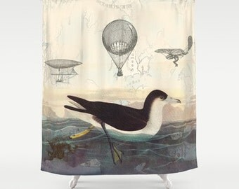 Unique Bird Shower Curtain - steampunk fabric curtain -  coastal wildlife, bathroom, flying machines, hot air balloons, maps, shearwater