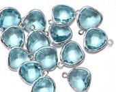 10% OFF (10 Pieces) . Aquamarine Glass Pendant .  Wholesale Jewelry Supply . Polished Original Rhodium Plated over Brass - AG001-PR-AQ