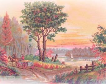 Antique PASTEL SCENIC  Postcard -  INSTANT Digital download - pastoral lake farm idyllic sunset carriage