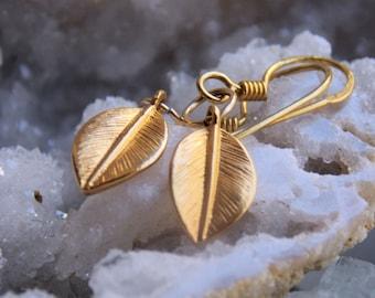 SALE!  24k Gold Vermeil Daphne Bay Leaf Earrings