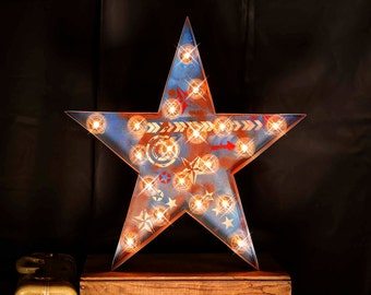 Americana Star, Marquee Star, Marquee Letter, Lighted Metal MARQUEE SIGN, Marquee sign, Marquee Light Fixture: Star Marquee