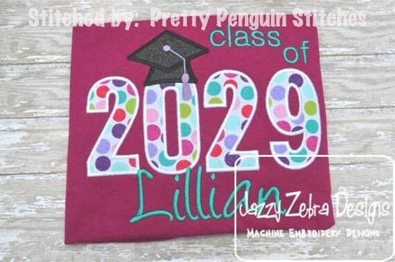 Class of 2029 Appliqué embroidery Design - graduation appliqué design - school appliqué design