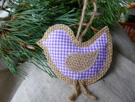 Easter burlap bird lavender gingham -Home Decor -