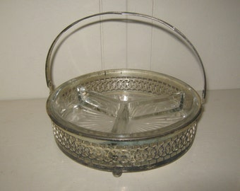 Glass 3 Section Nut Dish with Silver Tray