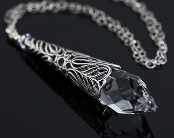 Crystal Necklace, Clear Swarovski Crystal Icicle Pendant, Sterling Silver Icicle Necklace, Victorian Filigree, Antique Silver, Fantasy